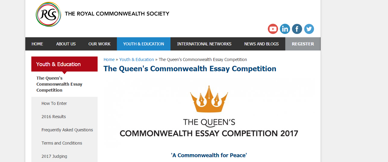 commonwealth essay competitions The royal commonwealth society is a network of individuals and organisations committed to improving the lives and prospects of commonwealth citizens across the world.