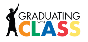 Graduating with Class logo, transparent background